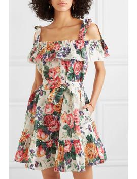 Allia Ruffled Floral Print Linen Dress by Zimmermann