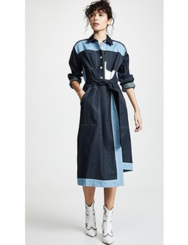 Belted Two Tone Shirtdress by Colovos