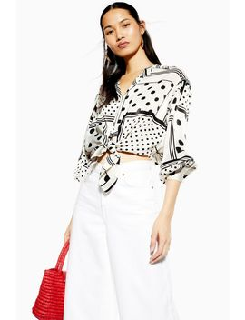 Mixed Spot Tie Front Shirt by Topshop