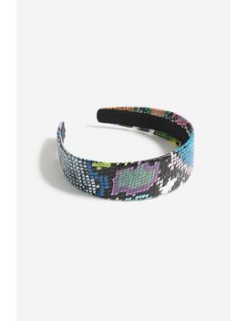 **Multi Coloured Snake Skin Print Headband by Topshop