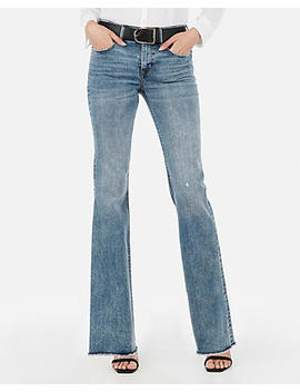 Mid Rise Denim Perfect Raw Hem Flare Jeans by Express