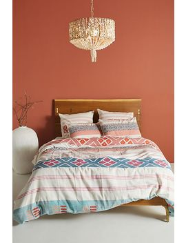 Woven Rosewood Duvet Cover by Anthropologie