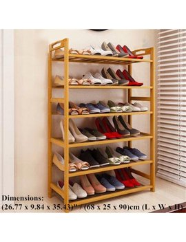 Zimtown 6 Tier Natural Wood Bamboo Shelf Entryway Storage Shoe Rack Home Furniture by Zimtown