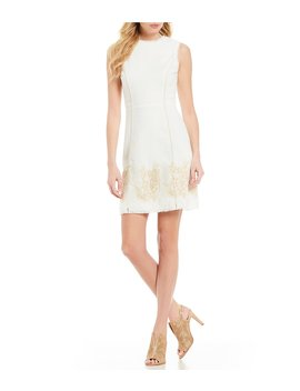 Sleeveless Embroidered Tweed A Line Dress by Vince Camuto