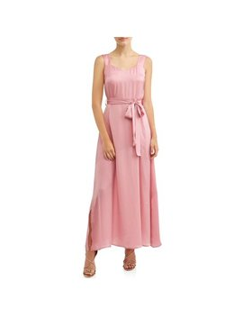 Women's Maxi Dress With Side Tie Belt by Love Sadie