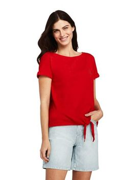 Women's Short Sleeve Linen Cotton Boat Neck Tie Front T Shirt by Lands' End