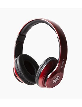 I Joy Matte Rechargeable Wireless Bluetooth Foldable Over Ear Headphones With Mic (Red) by I Joy