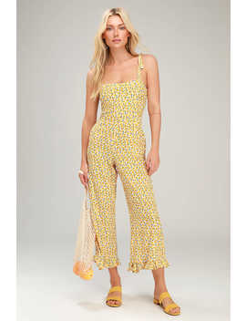 Frankie Yellow Floral Print Tie Strap Jumpsuit by Faithfull The Brand