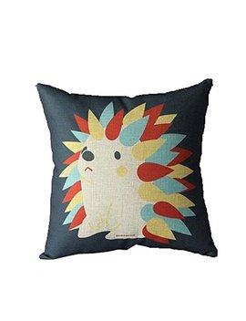 Baifeng Linen Blend Hedgehog Pillow Case Cover Cartoon Animal Colorful Waist Cushion by Baifeng