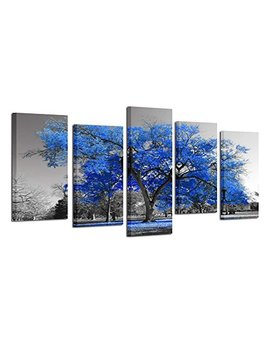 Kreative Arts Canvas Print Wall Art Painting Contemporary Blue Tree In Black And White Style Fall Landscape Picture Modern Giclee Stretched And Framed Artwork (Large Size 60x32inch) by Kreative Arts