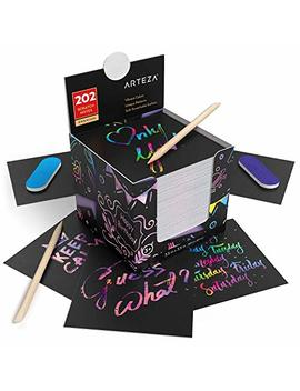 """Arteza Scratch Paper Notes, Set Of 202 Sheets, 3.5""""X3.5"""" Inches 200 Rainbow Notes & 2 Space Patterned Notes, Include 2 Scratchers, 2 Sharpeners, For Kids, Art & Craft Classrooms And Diy Projects by Arteza"""