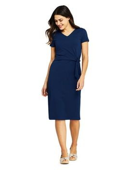 Women's Short Sleeve Knit V Neck Knot T Shirt Dress by Lands' End