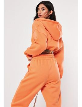 Orange Buckle Belted Cropped Hoodie by Missguided