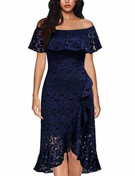 Missmay Women's Vintage Floral Lace Ruffle Split Evening Party Slim Pencil Dress by Miss May