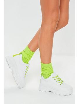 Neon Yellow Detail Chunky Hiking Trainers by Missguided