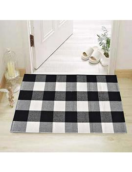 "Cotton Bath Runner Buffalo Check Rug Black And White Plaid Runner Doormat Hand Woven Checkered Carpet For Doorway/Kitchen/Bathroom/Entry Way/Laundry Room/Bedroom (24"" X35"", B Black And White) by Qanahome"