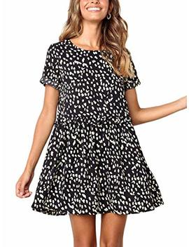 Mopoogoss Women's Round Neck Sleeveless Ruffle Polka Dot Swing Casual Loose Fit Midi Dress With Pocket by Mopoogoss