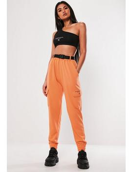 Orange Cargo Pocket Joggers by Missguided