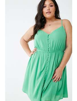Plus Size Crinkled Button Front Dress by Forever 21
