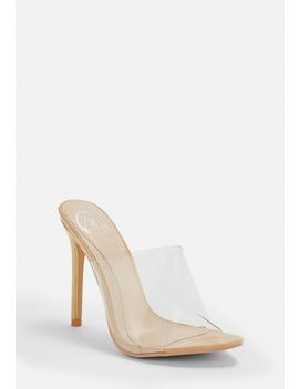 Nude Pointed Clear Mules by Missguided