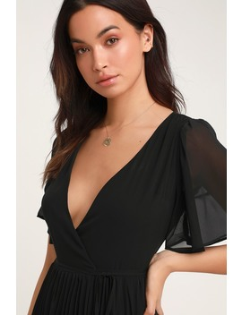 Pleats To Meet You Black Pleated Midi Wrap Dress by Lulus