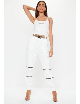 White High Waisted Buckle Front Joggers by Missguided