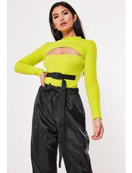 Lime Buckle Front Cut Out Rib Bodysuit by Missguided