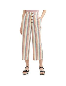Juniors' Chunky Stripe Wide Leg Cropped Pants by Derek Heart