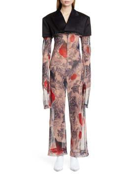 Cotton Blazer & Rose Tattoo Mesh Jumpsuit by Comme Des GarÇons