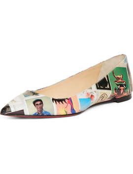 Ballalla Collage Pointy Toe Flat by Christian Louboutin