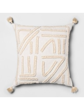 Chenille Embroidered Square Decorative Throw Pillow Cream   Opalhouse by Opalhouse