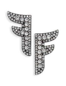 Crystal F Statement Earrings by Fendi