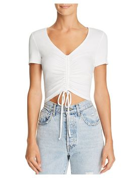 Ruched Drawstring Cropped Tee   100 Percents Exclusive by Aqua