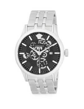 Logo Stainless Steel Bracelet Watch by Versace