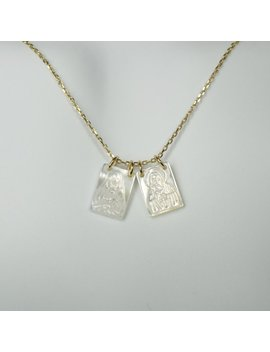 Scapular Style Mother Of Pearl On Gold Over Sterling Silver Chain Necklace by Etsy