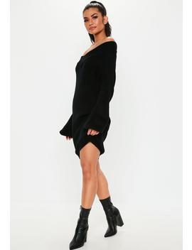 Petite Black V Neck Sweater Dress by Missguided