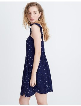 Ruffle Strap Button Front Dress In Polka Dot by Madewell