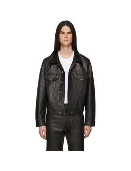 Black Leather Masc Trucker Jacket by Helmut Lang