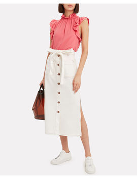 Button Denim Midi Skirt by See By Chloé