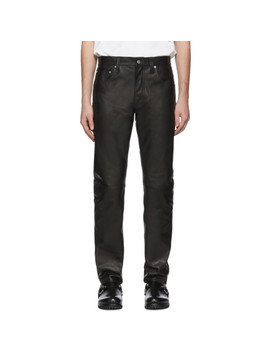 Black Leather Masc Hi Straight Jeans by Helmut Lang