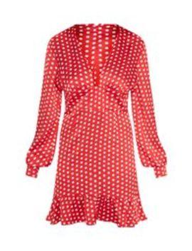 Red Polkadot Plunge Frill Hem Bodycon Dress by Prettylittlething