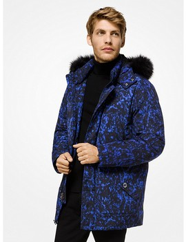 Faux Fur Trimmed Volcanic Print Parka by Michael Kors Mens