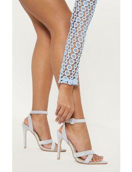 Dusty Blue Point Toe Cross Strap Sandal by Prettylittlething