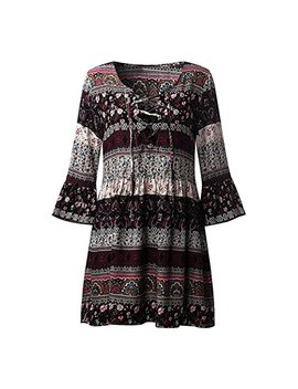Ruhiku Gw Women Bohemian Vintage Printed Ethnic Style Summer Shift Dress by Ruhiku Gw