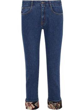 Jacquard Trimmed Mid Rise Slim Leg Jeans by Stella Mc Cartney