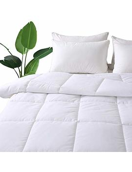 Decroom White Comforter Queen Full Size, Down Alternative Quilted Duvet Insert Queen,Moisture Wicking Treament,Light Weight Soft And Hypoallergenic For All Season Comforter by Decroom