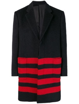 Stripe Detail Single Breasted Coat by Calvin Klein 205 W39nyc