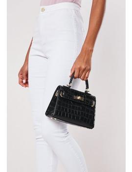 Black Croc Mini Handbag by Missguided