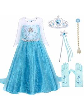Jurebecia Girls Elsa/Anna Costume Dress Kids Princess Fancy Dress Up Birthday Party Role Play Dresses 2 10 Years by Jurebecia