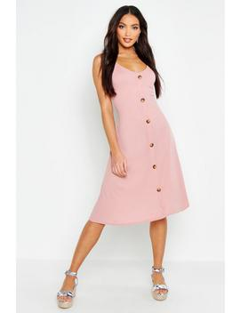 Ribbed Button Down Midi Swing Dress by Boohoo